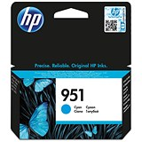 Hewlett Packard [HP] No.951 Inkjet Cartridge Page Life 700pp 8.5ml Cyan Ref CN050AE