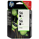 Image of HP 56 Black Ink Cartridge (Twin Pack)