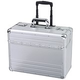 Image of Alumaxx Omega Trolley Pilot Case / 2 Combination Locks / Silver Aluminium