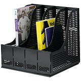 Storage Rack for Lever Arch Files with 4 Sections - Black