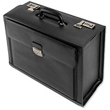 Image of Alassio Ferrara Pilot Case / 2 Combination Locks / Leather / Black
