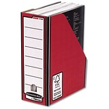 Image of Fellowes Bankers Box Premium Magazine File / Fastfold / A4+ / Red & White / Pack of 10