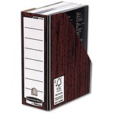 Image of Fellowes Bankers Box Premium Magazine File / Fastfold / A4+ / Woodgrain / Pack of 10