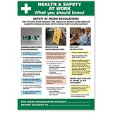 Image of Stewart Superior Health and Safety At Work Laminated Guidance Poster W420xH595mm Ref HS106