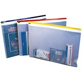 Image of Zip Pouch Heavy-duty / Clear PVC with Coloured Seal / A4 / Assorted / Pack of 10