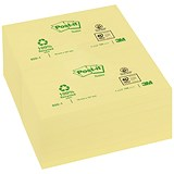 Post-it Recycled Notes / 76x127mm / Yellow / Pack of 12 x 100 Notes