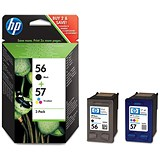 HP 56 Black/57 Tri-Colour Ink Cartridges (2 Cartridges)