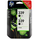 Image of HP 339 Black Ink Cartridge (Twin Pack)