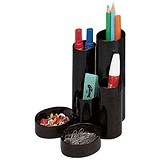 Image of Desk Tidy with 6 Compartment Tubes - Black