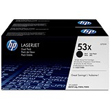 Image of HP 53X Black Laser Toner Cartridge (Twin Pack)