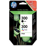 Image of HP 300 Black/Tri-Colour Ink Cartridges (2 Cartridges)