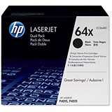 Image of HP 64X High Yield Black Laser Toner Cartridge (Twin Pack)