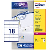 Image of Avery Jam-free Laser Addressing Labels / 18 per Sheet / 63.5x46.6mm / White / L7161-100 / 1800 Labels