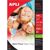 Image of Apli A4 Best Price Glossy Photo Paper / White / 140gsm / Pack of 100 Sheets