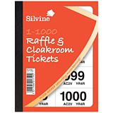 Image of Cloakroom or Raffle Tickets / Numbered 1-1000 / Assorted Colours / Pack of 6