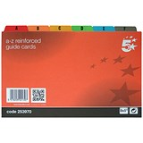 Image of 5 Star Reinforced Guide Cards / A-Z / 203x127mm / White with Multicoloured Tabs