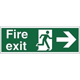 Stewart Superior Fire Exit Sign Man and Arrow Right 450x150mm Self-adhesive Vinyl