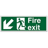 Stewart Superior Fire Exit Sign Man and Arrow Down Left W450xH150mm Self-adhesive Vinyl