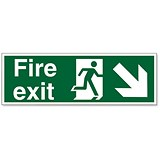 Image of Stewart Superior Fire Exit Sign Man and Arrow Down Right 450x150mm Self-adhesive Vinyl Ref SP123SAV