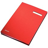 Image of Signature Book with Blotting Card / 340x240mm / 20 Compartments / Red
