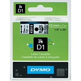 Image of Dymo D1 Tape for Electronic Labelmakers 12mmx7m Black on Clear Ref 45010 S0720500