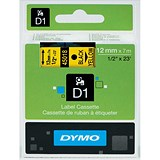 Image of Dymo D1 Tape for Electronic Labelmakers 12mmx7m Black on Yellow Ref 45018 S0720580