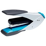 Image of Rexel Easy Touch Flat Clinch Half Strip Stapler / Capacity: 30 Sheets / White & Blue