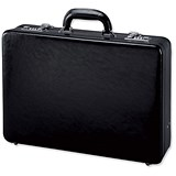 Image of Alassio Attaché Case / 3x A4 Compartments / Expandable by 20mm / Leather / Black