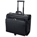 Image of Alassio San Remo Trolley Pilot Case / 2 Combination Locks / Leather-look / Black
