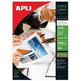 Image of Apli A4 Glossy Double-Sided Laser Photo Paper / White / 210gsm / Pack of 100 Sheets
