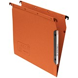 Image of Elba Ultimate AZV Lateral Suspension Files / 330mm Width / 15mm V Base / A4 / Orange / Pack of 25