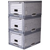 Fellowes Bankers Box 3 Drawer Unit / Stackable / Grey & White / Pack of 5
