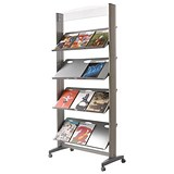 Image of Fast Paper Literature Mobile Display / 1-Sided / 4 Metal Shelves / Wide / Silver