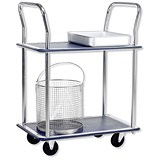 5 Star 2 Shelf Trolley / Steel Frame / Capacity 120kg / Chrome