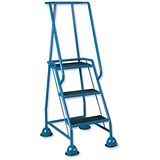Image of Barton Mobile Steps / Retractable Castors / Double Handrails / Three Tread / W820xD550xH1420mm