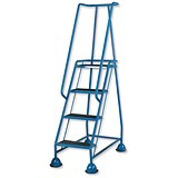 Image of Barton Mobile Steps / Retractable Castors / Double Handrails / Four Tread / W985xD580xH1725mm