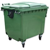 Image of Bentley Wheelie Bin with Rear Wheels / 1100 Litre / Green
