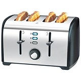 Image of 4 Slice Stainless Steel Toaster with Defrosting and Variable Browning Settings - 1700W