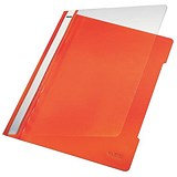Image of Leitz Standard Data Files / Semi Rigid PVC / Clear Front / 20mm Title Strip / A4 / Orange / Pack of 25