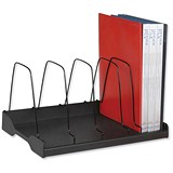 Adjustable Book Rack with 6 Wire Dividers / W388xD275xH220mm / Black