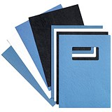 Image of GBC Binding Covers with Window / 250gsm / Blue / A4 / Leathergrain / Pack of 25 Pairs
