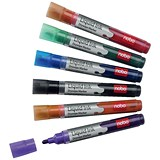 Image of Nobo Liquid Ink Drymarker Drywipe Flipchart OHP / Bullet Tip / Assorted Colours / Wallet of 6