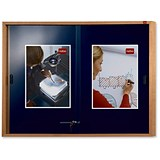 Image of Nobo Slimline Display Cabinet Noticeboard / Lockable Sliding Door / Oak / W1000xH825mm / Blue
