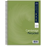 Cambridge Notebook Recycled Wirebound Notebook / A4 / Ruled with Margin / 200 Pages / Pack of 3