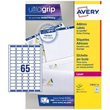 Image of Avery Laser Mini Labels / 65 per Sheet / 38.1x21.2mm / White / L7651-25 / 1625 Labels