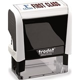"Image of Trodat Office Printy Self-inking Stamp / ""First Class"" / Reinkable / Red & Blue"