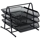 Image of Scratch-resistant 3-Tier Mesh Letter Tray / Stackable / Front-load / Portrait Foolscap / Black