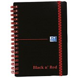 Image of Black n' Red Wirebound Polypropylene Notebook / A6 / Ruled / 140 Pages / Pack of 5