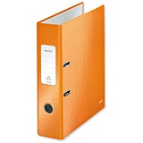 Image of Leitz WOW A4 Lever Arch Files / 80mm Spine / Orange / Pack of 10