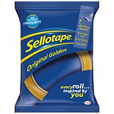 Image of Sellotape Original Golden Tape Rolls - Large / Non-static / Easy-tear / 48mmx66m / Pack of 6